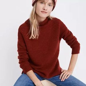 Madewell Burgundy Belmont Mockneck Ribbed Sweater in Coziest Yarn size S